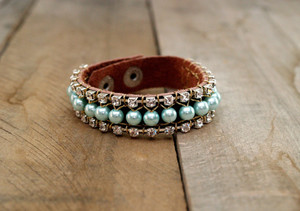 Aqua Blue Pearl DIY Leather Bracelet