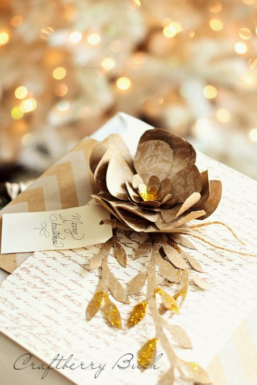 Golden Glitter Christmas Paper Flower IMR