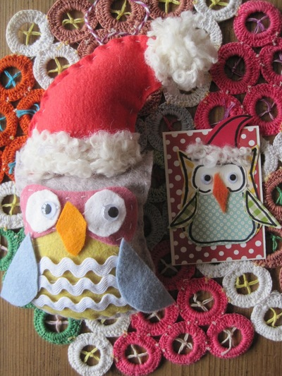 mustang Santa Owl Decoration