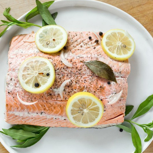 poached salmon with lemon and fresh herbs master