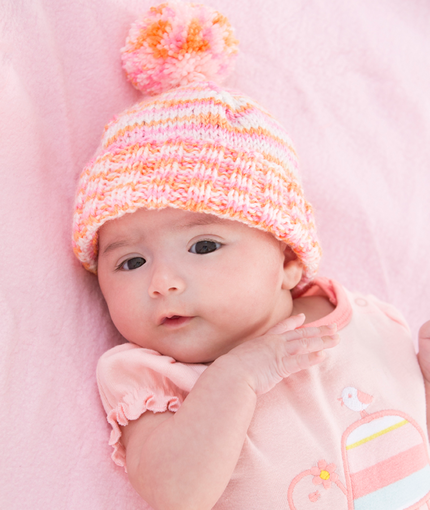 Knitting Patterns For Baby Girl Hats : Babys First Hat AllFreeKnitting.com