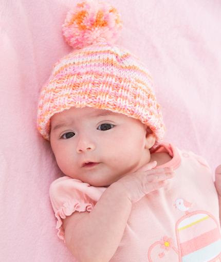 Knitting Patterns For Toddler Girl Hats : Babys First Hat AllFreeKnitting.com