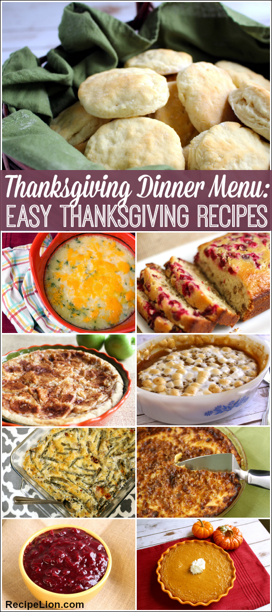 Thanksgiving Dinner Menu: 23 Easy Thanksgiving Recipes
