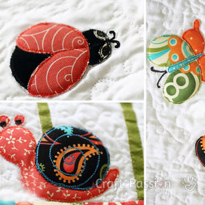 Ladybug, Butterfly, and Snail Applique