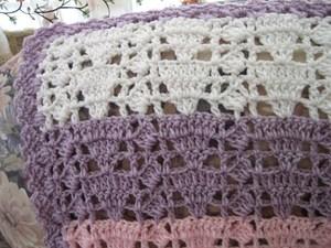 Feminine Eyelet Lace Crochet Afghan