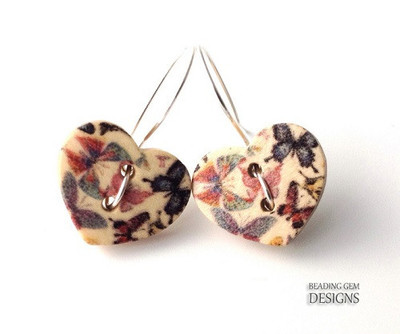 Precious Heart Button Earrings