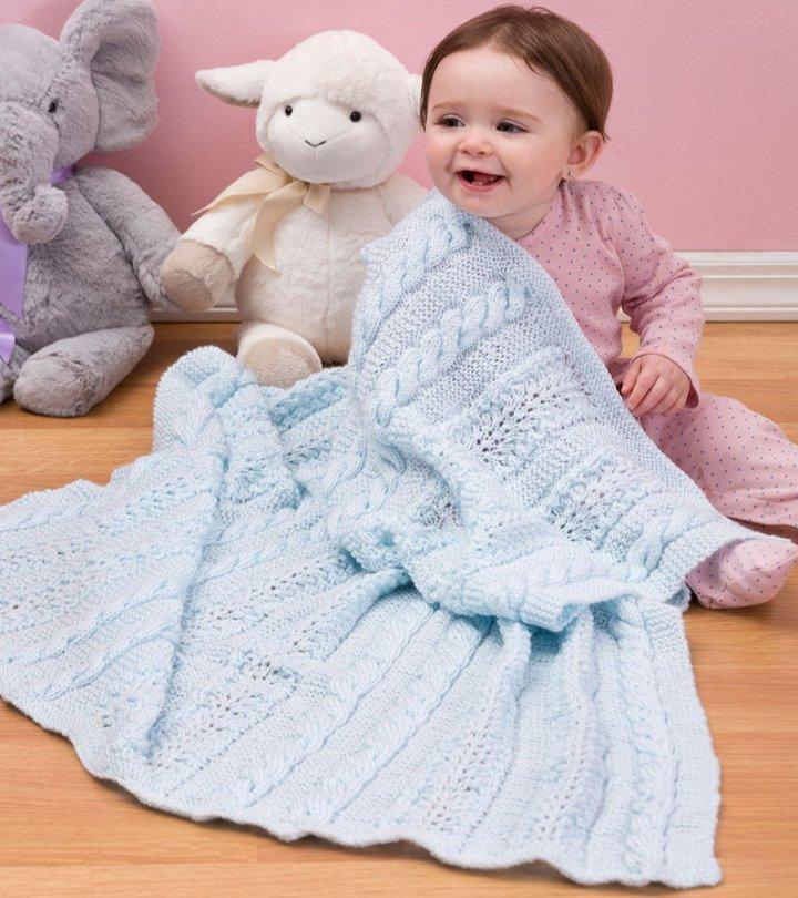 Knitting Pattern For Baby Girl Blanket : Heavenly Baby Blanket AllFreeKnitting.com
