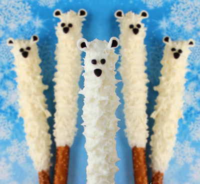 Yummy Polar Bear Pretzel Pops