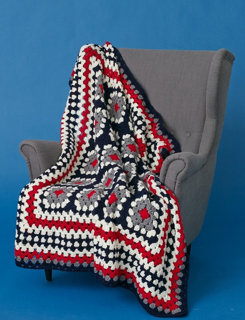 Patriotic Crochet Granny Squares Throw