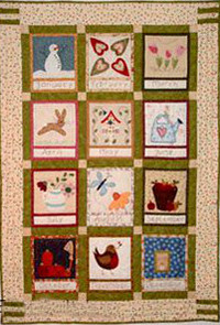 Embroidered Country Calendar Wall Hanging