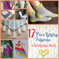 Knitting Stitch Patterns in Stockinette Stitch: 17 Freebies