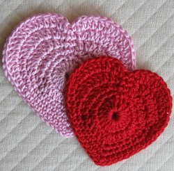 Red and Pink Crochet Hearts