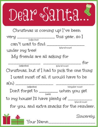 image regarding Christmas Mad Libs Printable called Printable Letter towards Santa Madlib