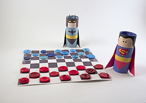 DIY Batman vs Superman Checkers Set