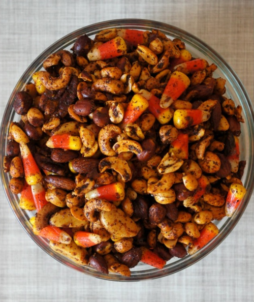 Sweet and Salty Candy Corn Spiced Nuts