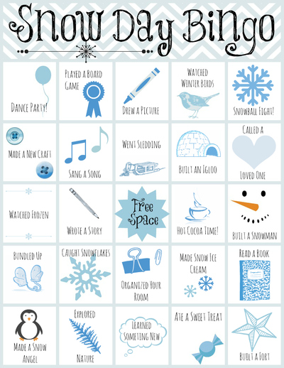 Printable Snow Day Bingo