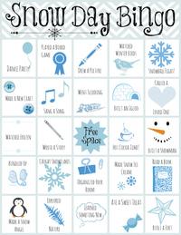 Printable Snow Day Bingo