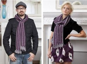 Purple and Grey His or Her Scarves