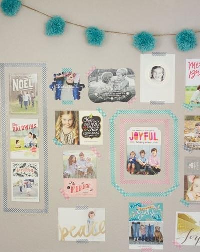 Washi Tape Christmas Card Wall Gallery