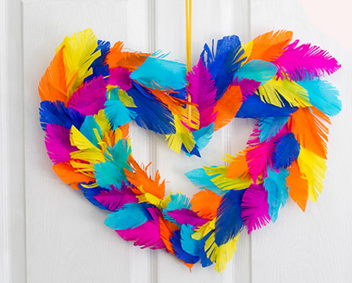 Bold and Beautiful Feather Heart Wreath