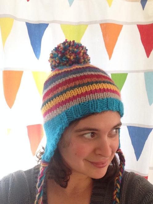 Loom Knit Baby Hat With Ear Flaps : Rainbow pippi hat allfreeknitting