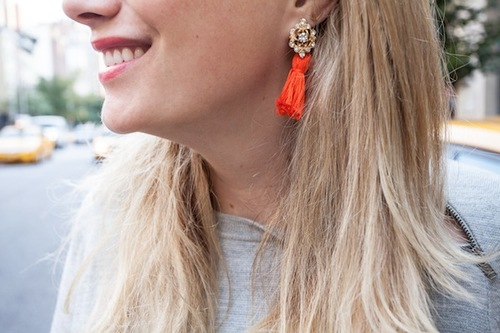 Brilliant Button and Tassel Earrings