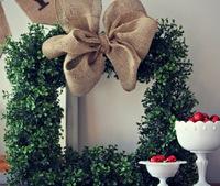 Unique Boxwood and Burlap Wreath