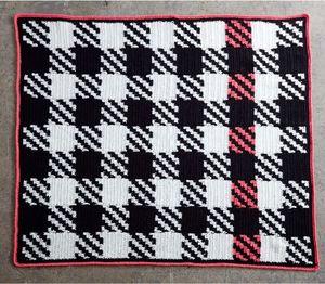 Modern Houndstooth Patchwork Blanket