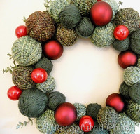 Christmas Yarn and Ornament Wreath