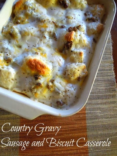 Biscuits and Country Gravy Breakfast Bake