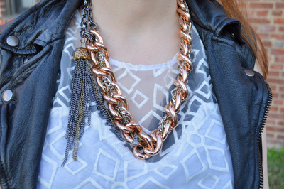 Mixed Metals Tassel Necklace