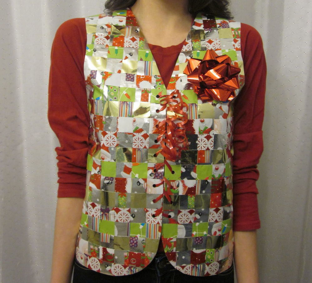 Recycled Wrapping Paper Ugly Sweater Vest