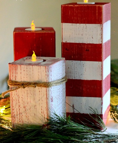 Wooden Peppermint Stick Artificial Candles
