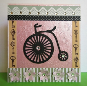 Penny-Farthing Floral Greeting Card