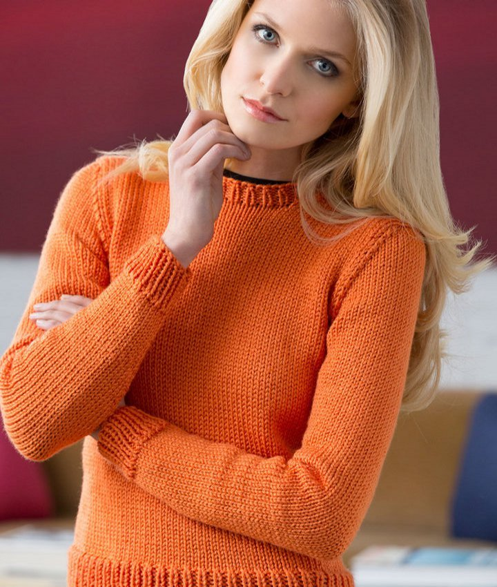 Knitting A Sweater On Straight Needles : Solid staple sweater allfreeknitting