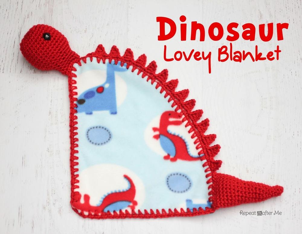Crochet Dinosaur Afghan Pattern : Dinosaur Lovey Blanket AllFreeCrochet.com