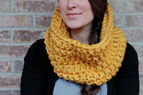 Gold and Chunky Crochet Cowl