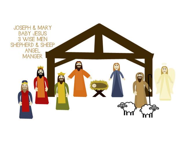 Easy Printable Nativity Scene Craft | AllFreeHolidayCrafts.com