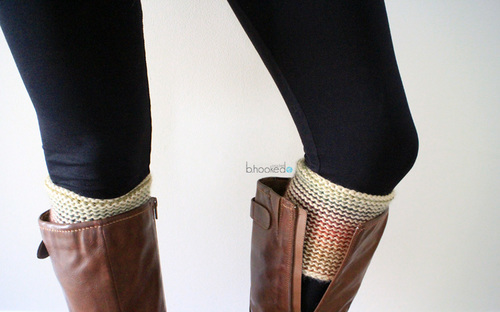 Reversible Tunisian Crochet Boot Cuff