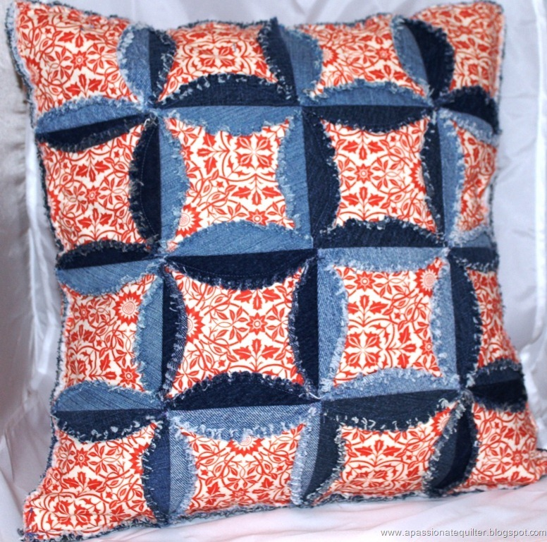Denim Cathedral Window Pillow Part 1 Favequilts Com