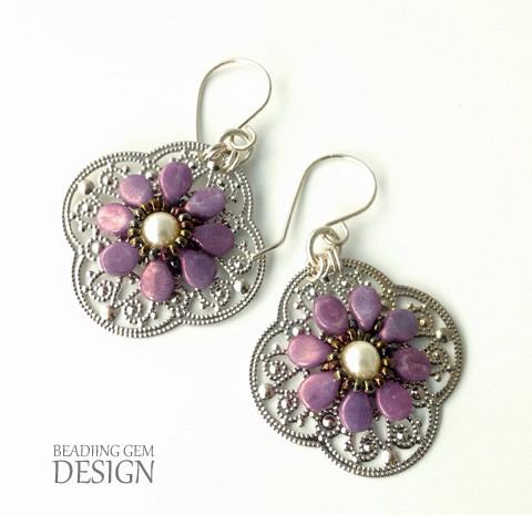 Purple Pip Bead Earrings