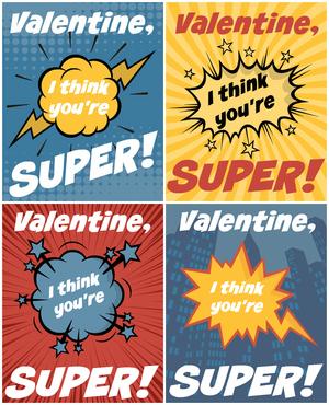 graphic regarding Free Printable Superhero named Superhero No cost Printable Valentines