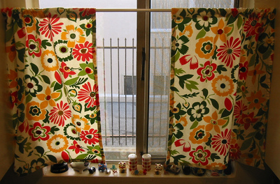 Vintage Button Kitchen Curtains