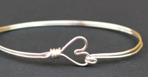 Heart Clasp Bangle Bracelet