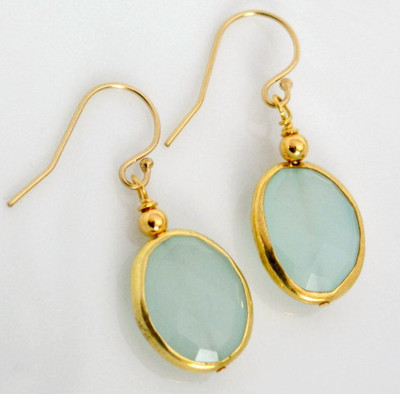 Glimmering Aqua Gemstone Earrings
