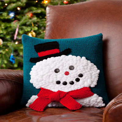 Smiley Snowman Pillow