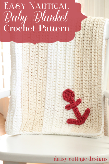 Easy Anchors Away Crochet Baby Blanket Pattern