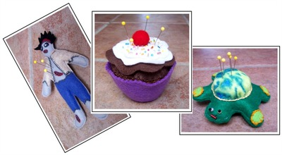 Zombies Cupcakes and Turtles Pin Cushions
