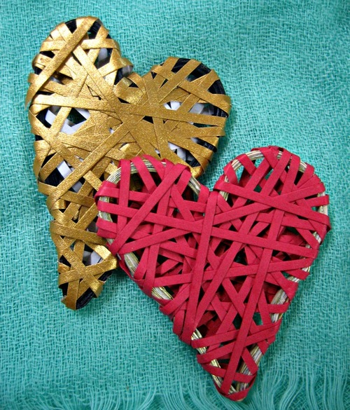 Beautiful Wrapped Paper Hearts