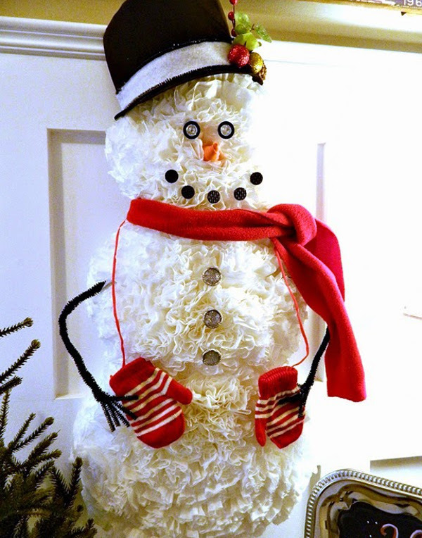 Coffee Filter Snowman | AllFreeHolidayCrafts.com